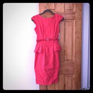 Coral Belted Peplum Sheath Dress
